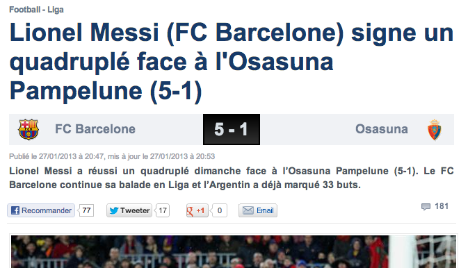 Dtail de l'article sur Lionel Messi