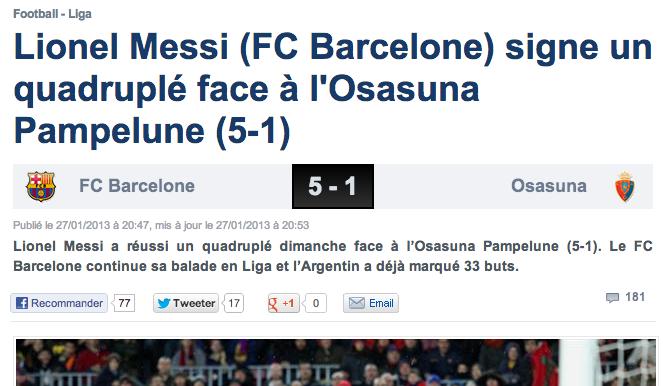Détail de l'article sur Lionel Messi