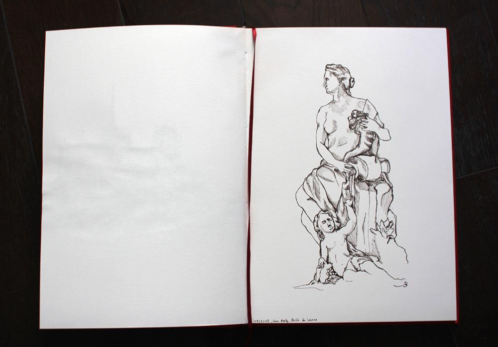 """Temps de croquis : 1 heure Lieu : Cour Marly, Musée du Louvre, """"La Marne"""""""