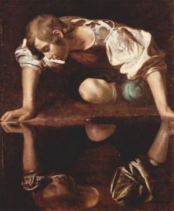 Le Caravage, Narcisse, huile sur toile, 110 × 92 cm, 1594-1596, Galleria Nazionale d'Arte Antica, Rome, Italie