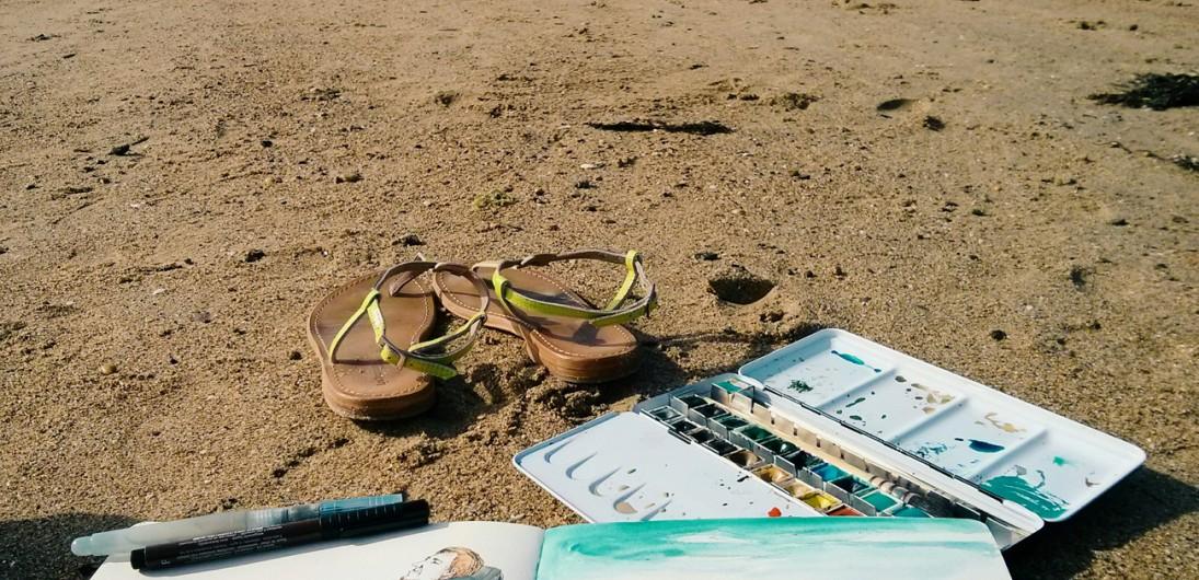 Aquarelle sur la plage du sillon