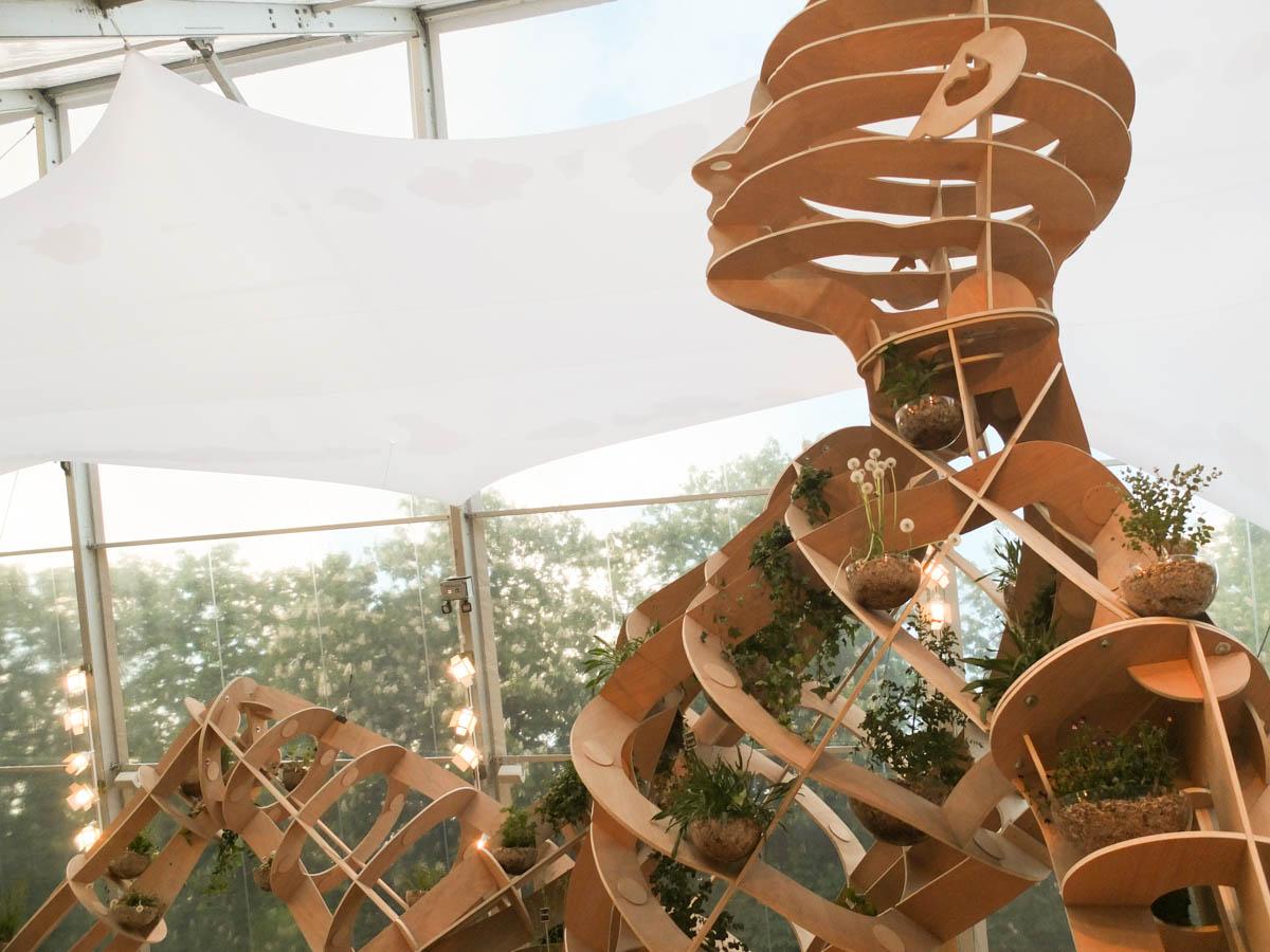 Une sculpture humaine en bois pour parler des plantes