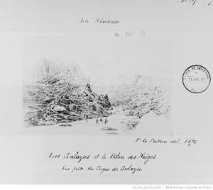 Les Salazies et le piton des neiges : vue prise du cirque de Salazie. Dessin par P.G. Cassien en 1875