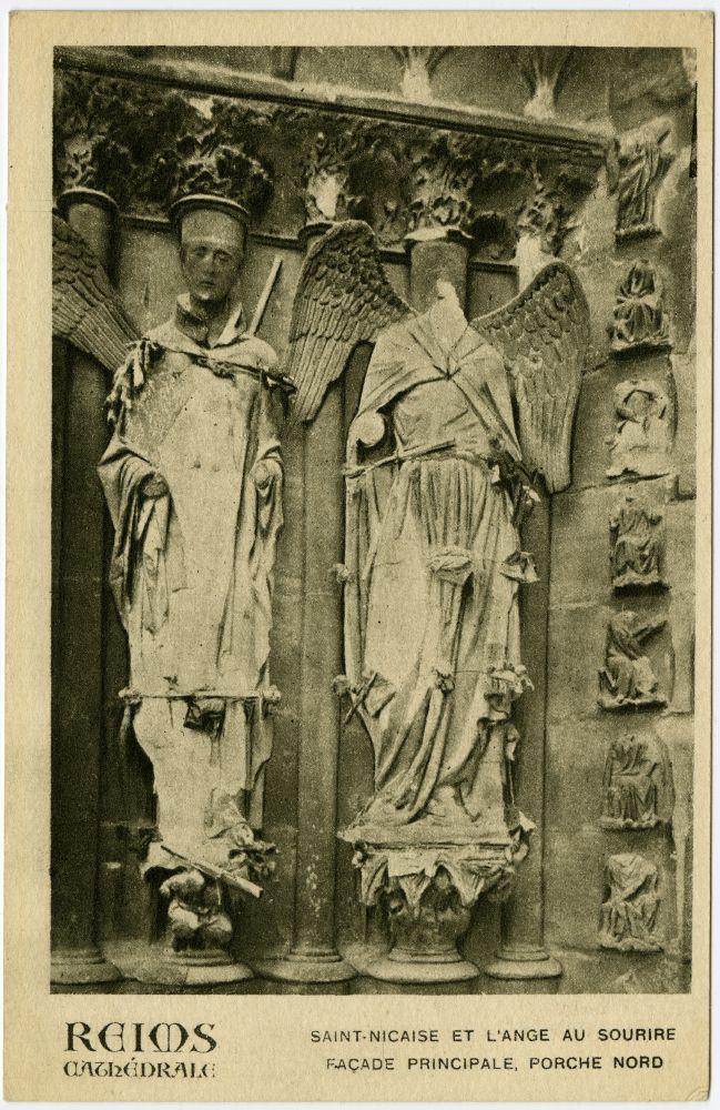 Saint-Nicaise et l'Ange au sourire, vue sur la façade du porche nord de la cathédrale de Reims, image de 1918, George Eastman House Collection