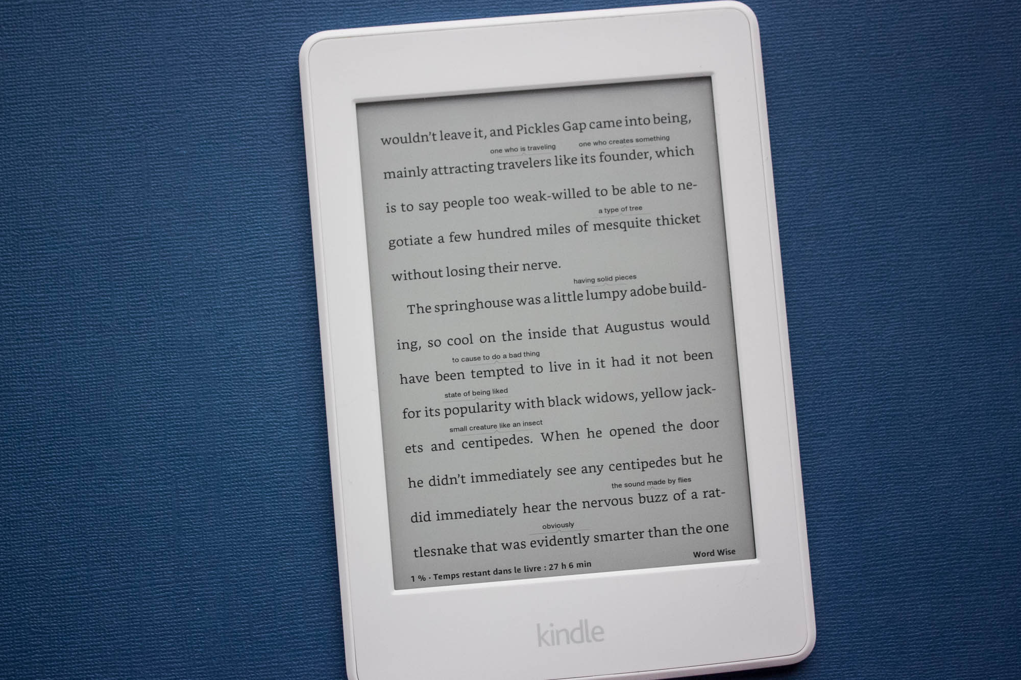 J'essaie d'améliorer mon anglais avec Kindle WordWise